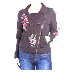 Kensie Jackets & Coats - Kensie denim Black embroidered Moto jacket